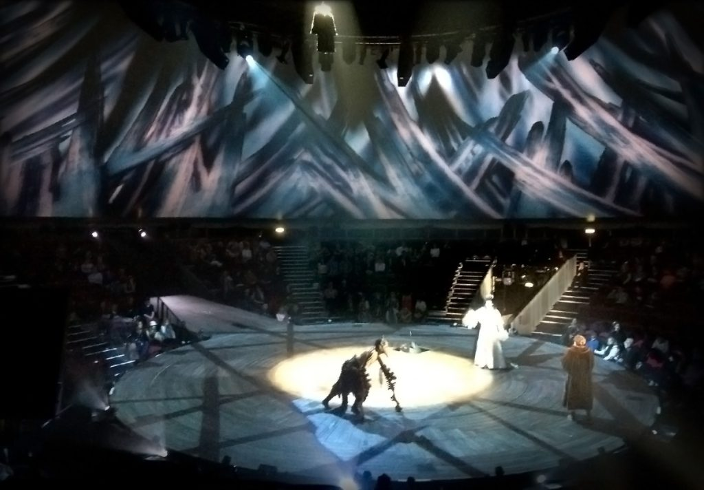 Stage shot from the production showing partial 360 degree image of The Witch's Chamber